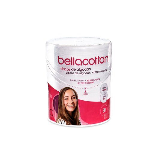 Algodão em Disco Bellacotton Pote Flip Top 30un