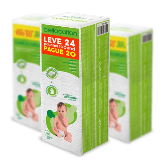 Kit Leve 24 Pague 20 Algodão Quadrado Baby Double Bebê Bellacotton 100un